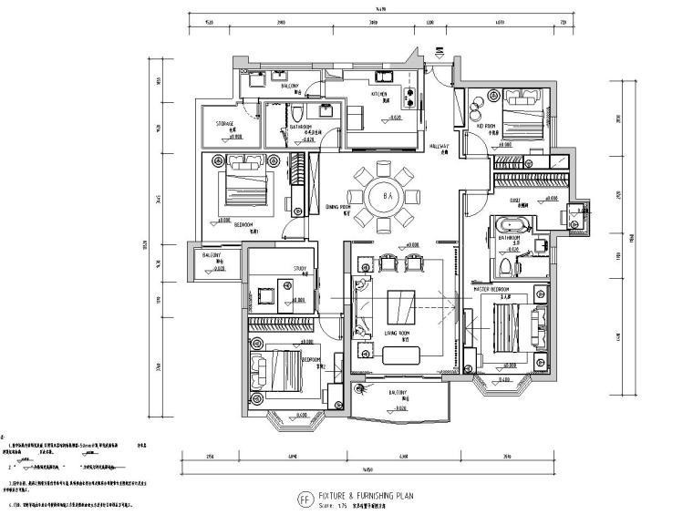 中式风格150㎡住宅装修施工图设计-01 家具布置图