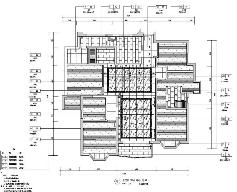 中式风格150㎡住宅装修施工图设计-地面铺装图