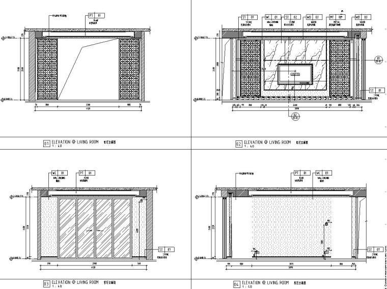中式风格150㎡住宅装修施工图设计-客厅立面图