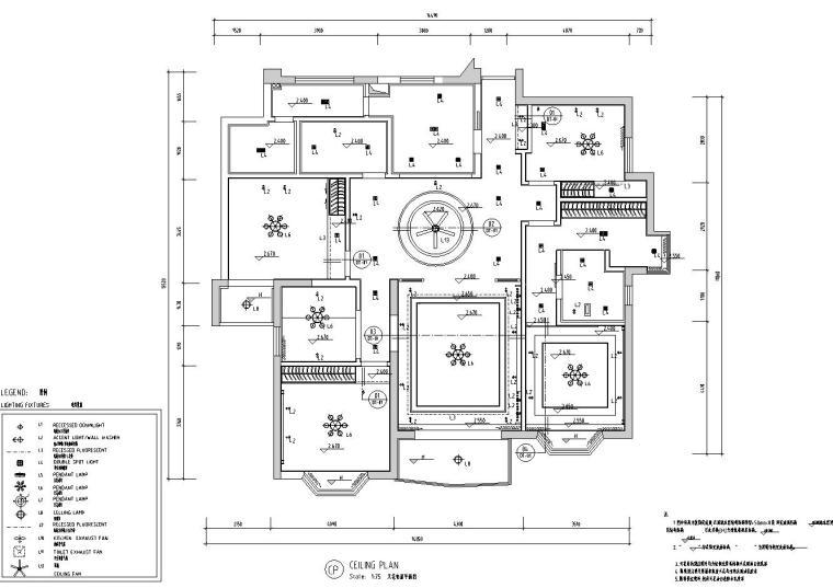 中式风格150㎡住宅装修施工图设计-天花布置平面图