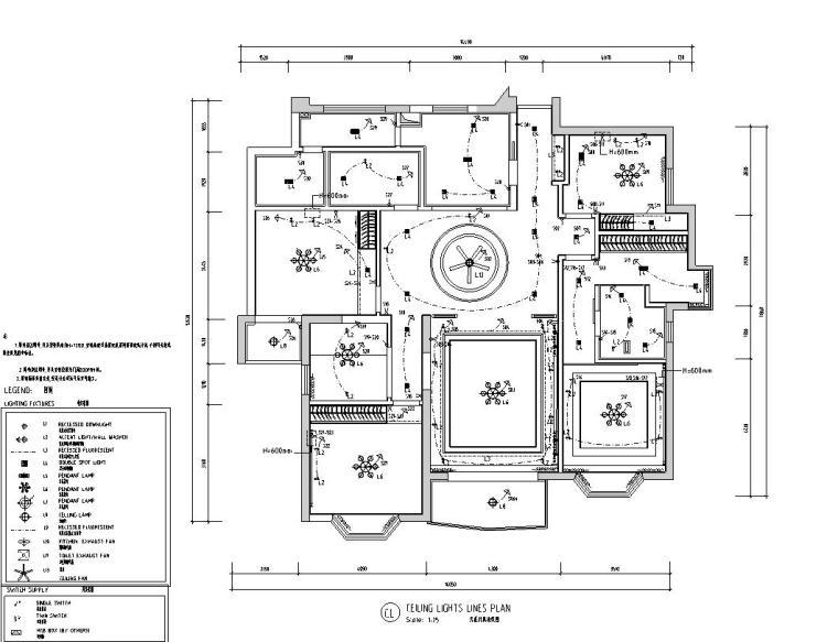 中式风格150㎡住宅装修施工图设计-天花灯具布置图