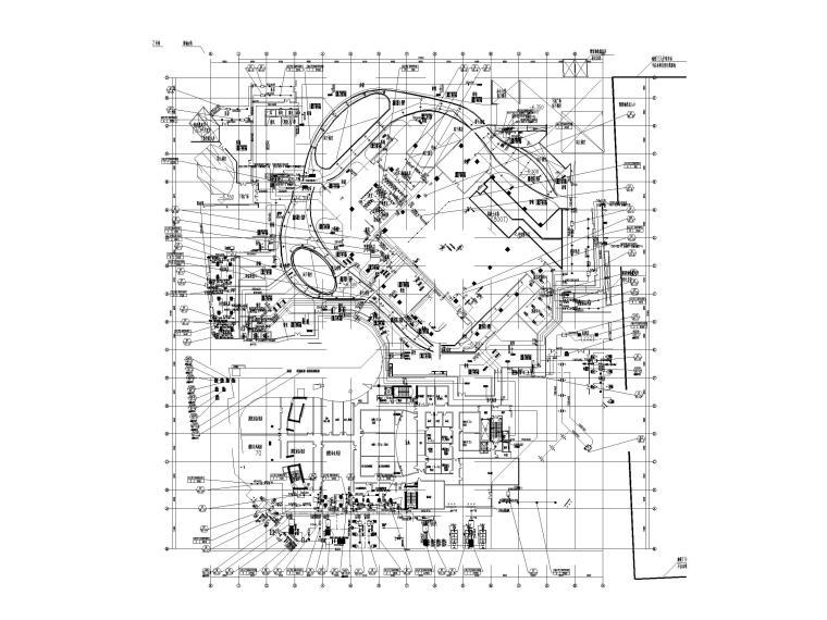 [上海]超高层办公_剧场空调通风系统设计图-地下一层空调通风平面图