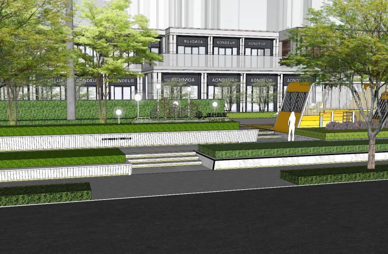 现代简约都会四季住宅展示区景观SU模型设计 (2)