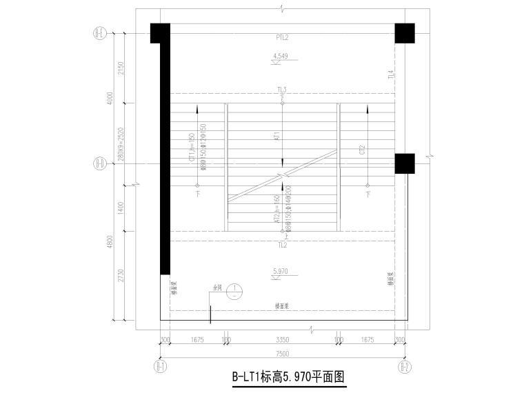 [深圳]8层少墙框架结构公共教学楼结施2018-楼梯结构平面图