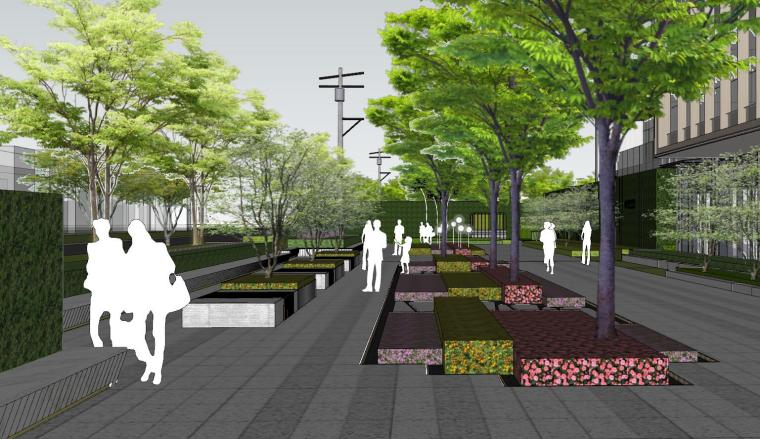 现代简约都会四季住宅展示区景观SU模型设计 (11)