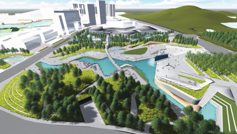[长沙]休闲活力市民公园景观设计方案-鸟瞰效果图3