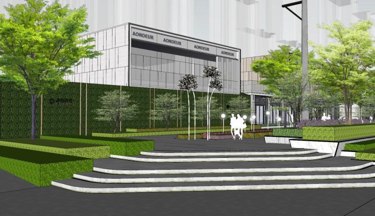 现代简约都会四季住宅展示区景观SU模型设计 (12)