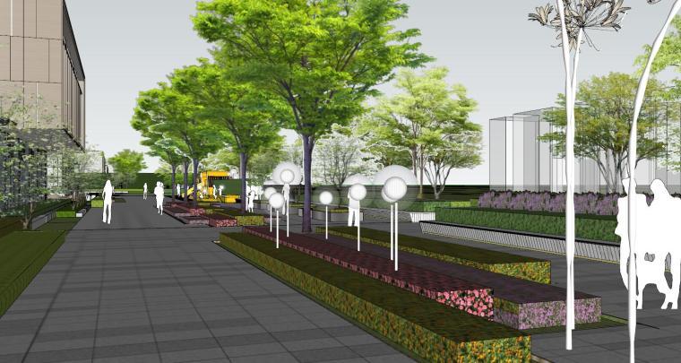 现代简约都会四季住宅展示区景观SU模型设计 (13)