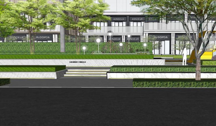 现代简约都会四季住宅展示区景观SU模型设计 (14)