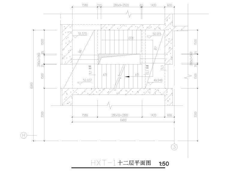 [苏州]46层框筒结构商务综合体结施图纸2018-楼梯结构平面图