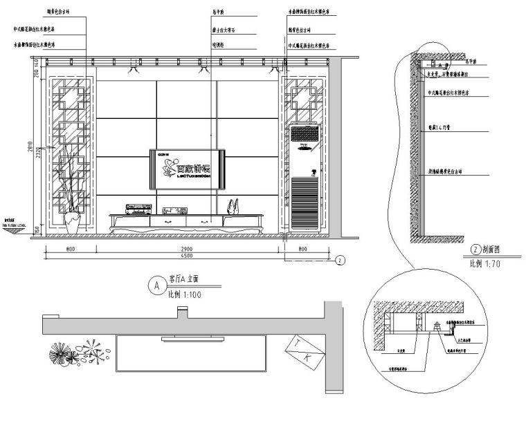 中式简约风格三居室住宅装修施工图设计-立面图1
