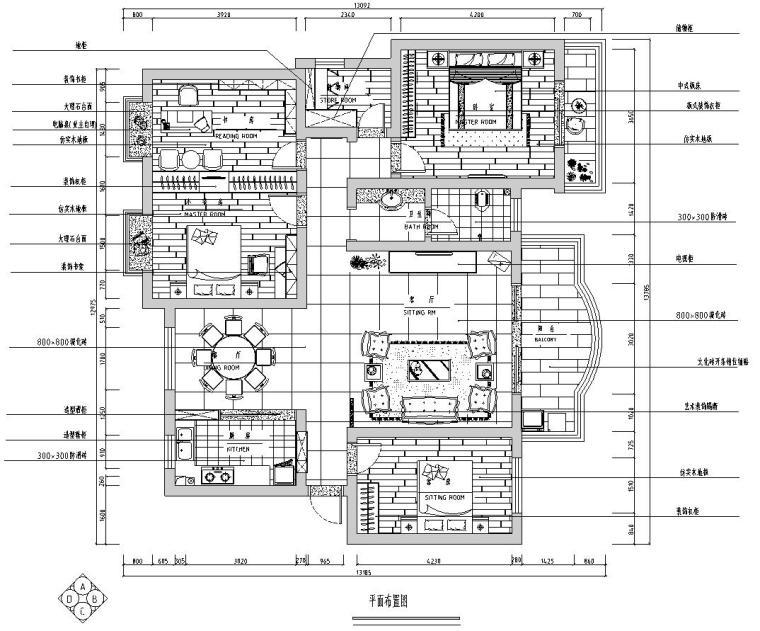 中式简约风格三居室住宅装修施工图设计-01 平面布置图