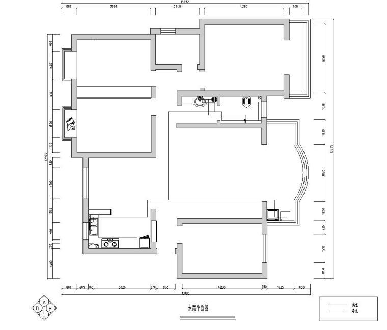 中式简约风格三居室住宅装修施工图设计-水路平面图