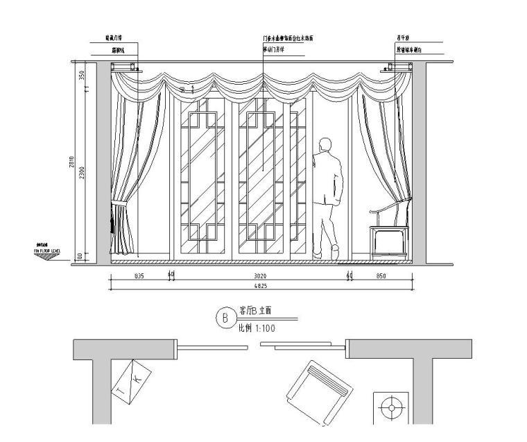 中式简约风格三居室住宅装修施工图设计-立面图2