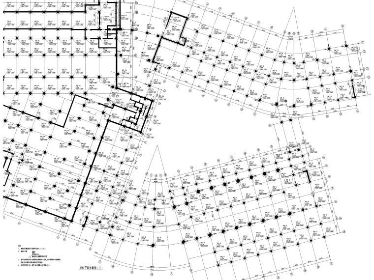 [深圳]8层少墙框架结构公共教学楼结施2018-部分桩位平面布置图