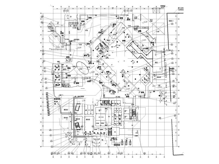 [上海]超高层办公_剧场空调通风系统设计图-地下一层空调水管平面图