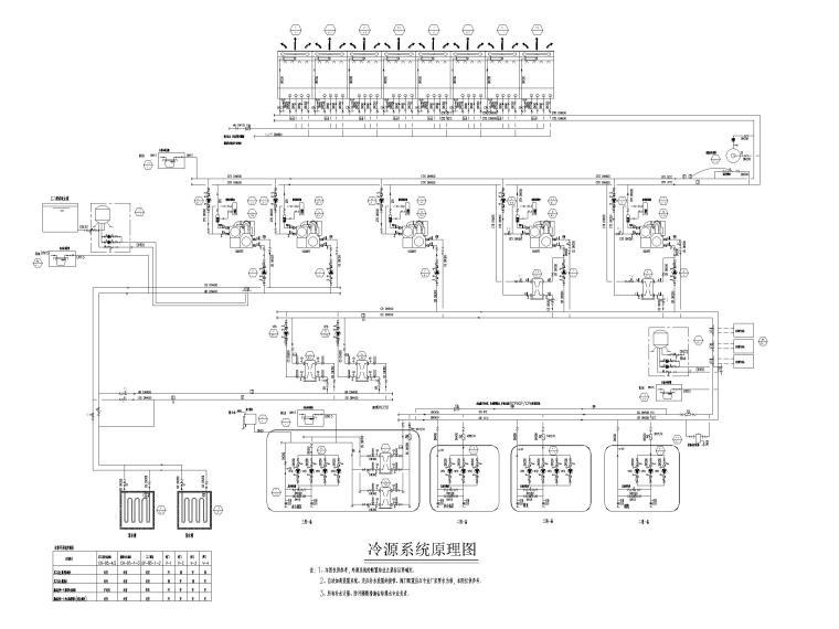 [上海]超高层办公_剧场空调通风系统设计图-冷源系统原理图
