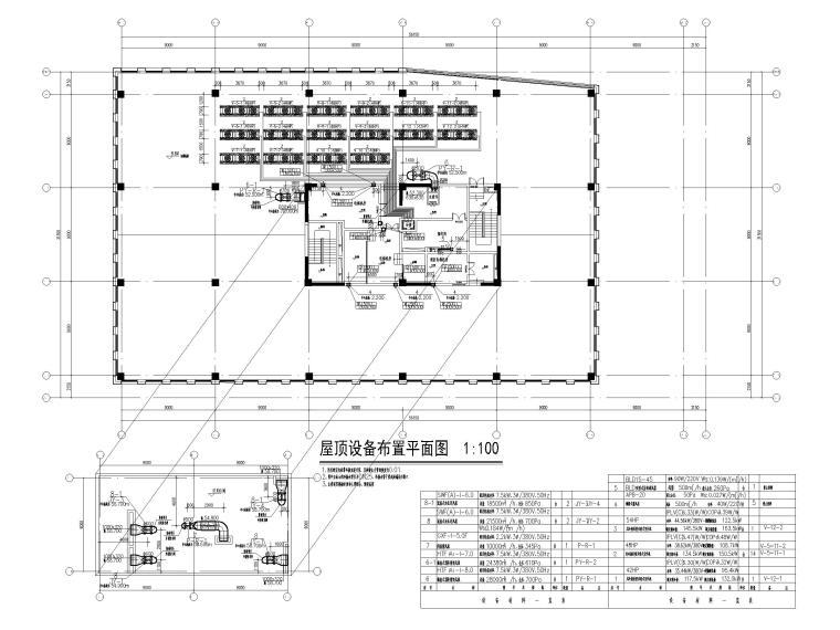 [南京]十二层科研中心多联机通风系统设计图-屋顶设备布置平面图