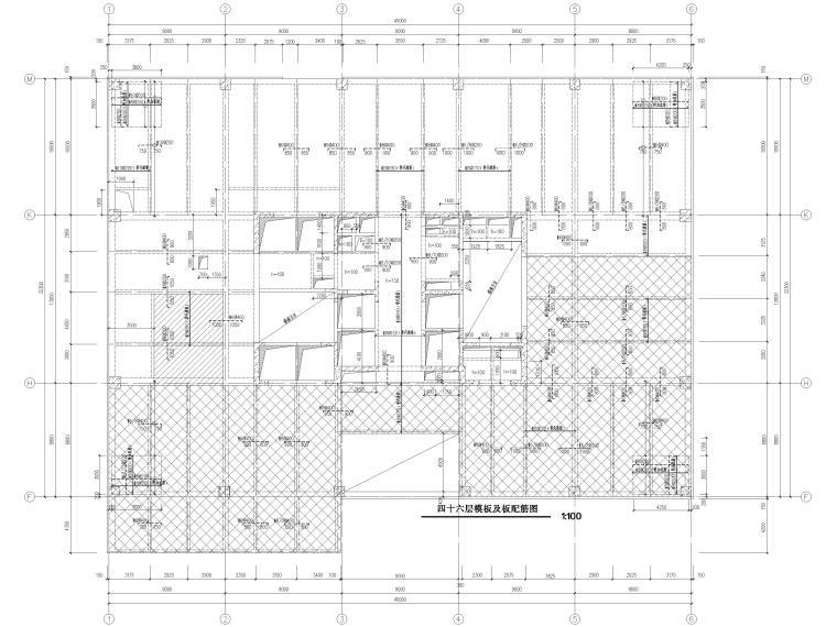 [苏州]46层框筒结构商务综合体结施图纸2018-塔楼模板及板配筋图
