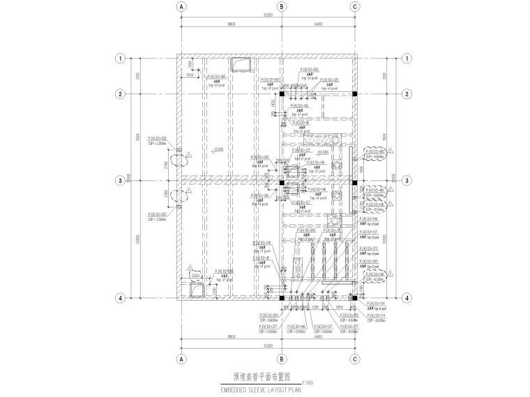 [太仓]单层框架结构消防泵房及水池结施2019-预埋套管平面布置图