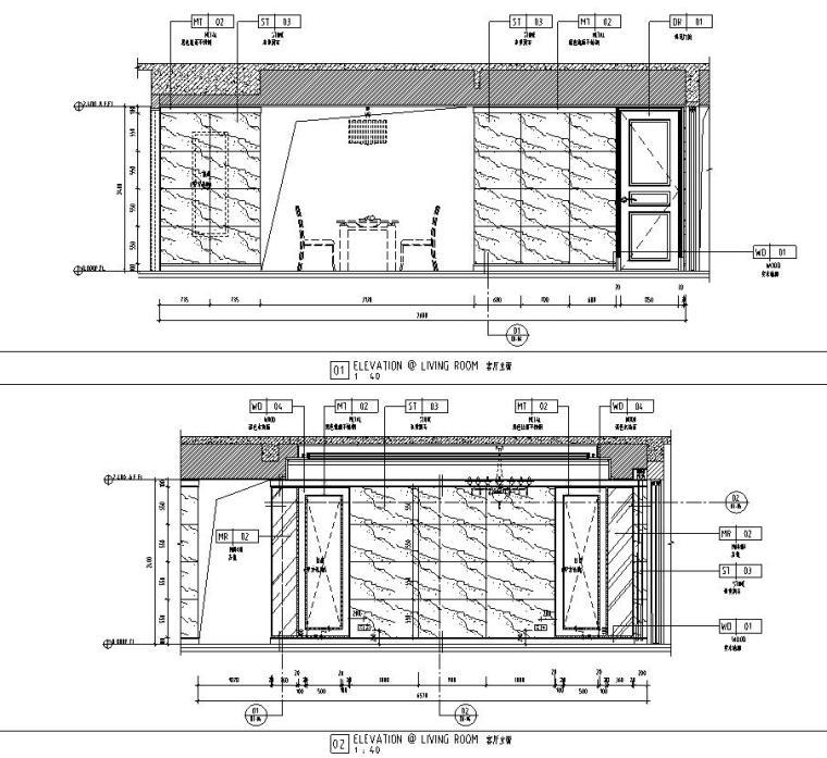 现代风格三居室142㎡住宅装修施工图设计-客厅立面图
