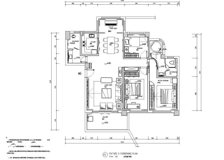 现代风格三居室142㎡住宅装修施工图设计-01 家具布置图