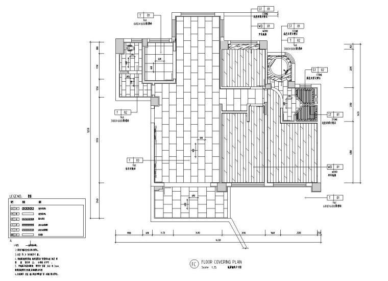 现代风格三居室142㎡住宅装修施工图设计-地面铺装尺寸图