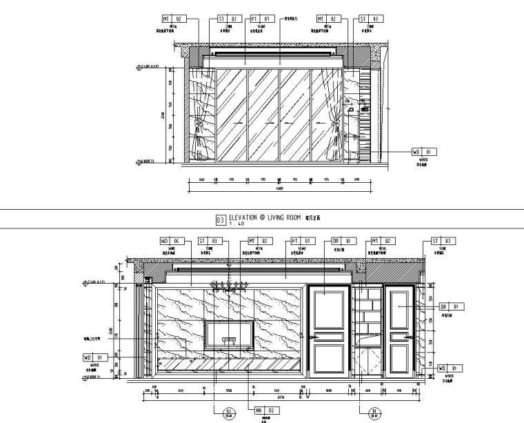 现代风格三居室142㎡住宅装修施工图设计-客厅立面图1