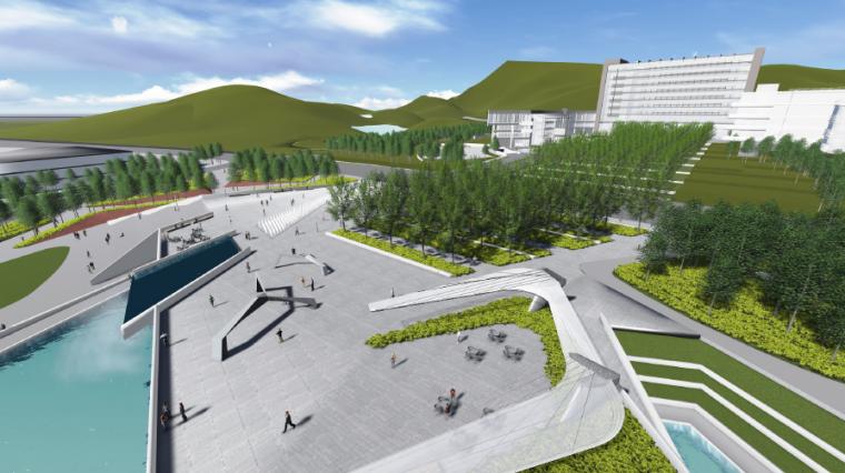 [长沙]休闲活力市民公园景观设计方案-市民广场效果图