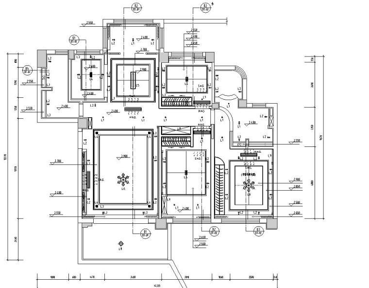 现代风格三居室142㎡住宅装修施工图设计-天花布置图