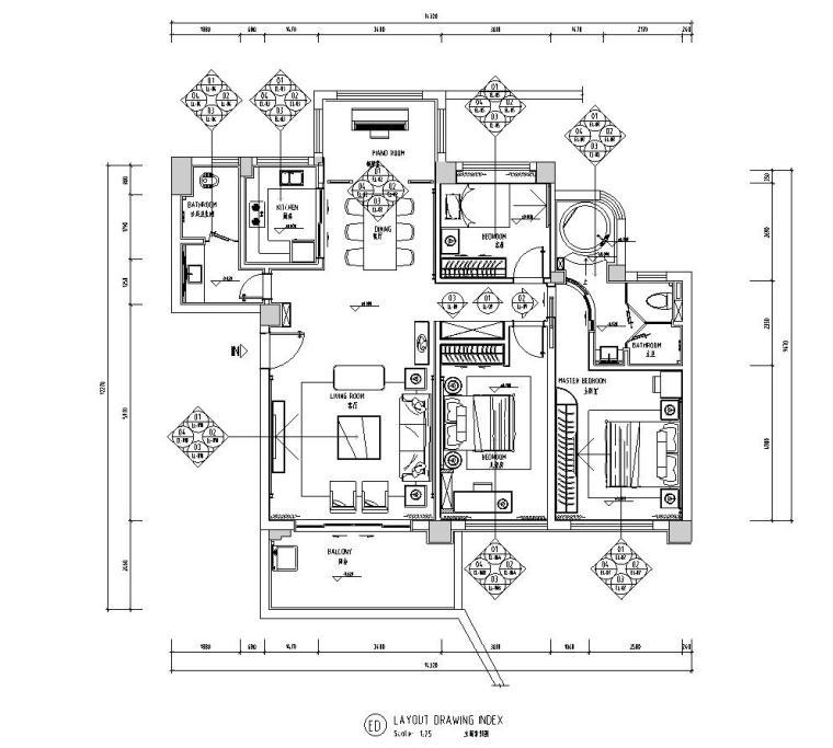 现代风格三居室142㎡住宅装修施工图设计-立面索引图