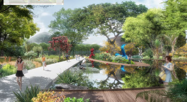 [昆明]当地文化滨河带状公园景观设计方案-镜花园效果图