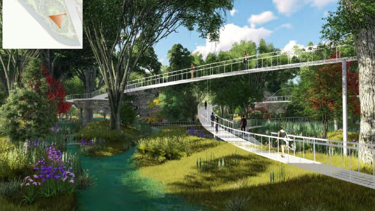 [昆明]当地文化滨河带状公园景观设计方案-林间树桥效果图