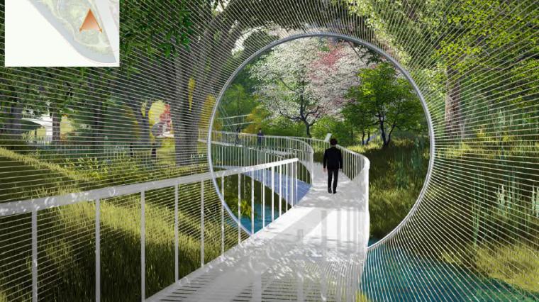 [昆明]当地文化滨河带状公园景观设计方案-林间树桥效果图2