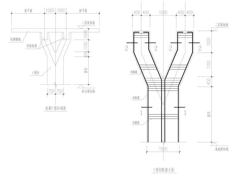 [肇庆]2层体育馆连廊结构竣工图2018-连廊Y型柱剖面