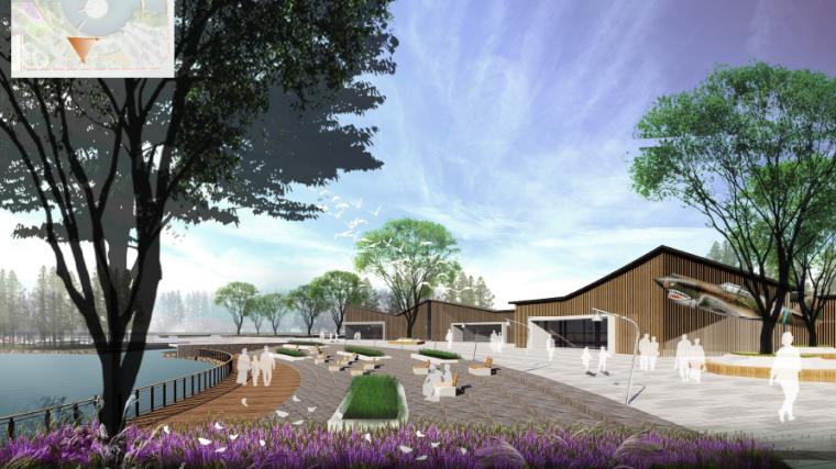 [昆明]当地文化滨河带状公园景观设计方案-美食集市效果图