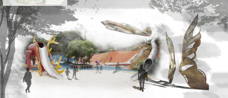 [昆明]当地文化滨河带状公园景观设计方案-驼峰乐园效果图