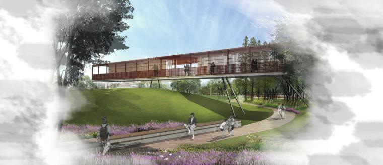 [昆明]当地文化滨河带状公园景观设计方案-云迹园观景台效果图