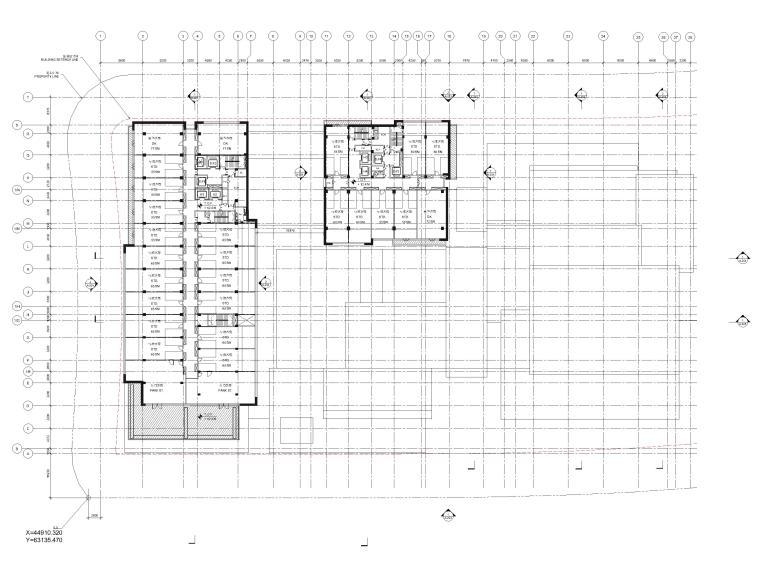 [江苏]苏州五星酒店客房方案+建筑图+效果图-四层平面图