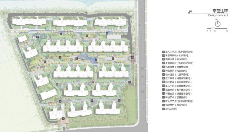 [江苏]宜兴现代中式风格住宅大区景观方案-平面注释