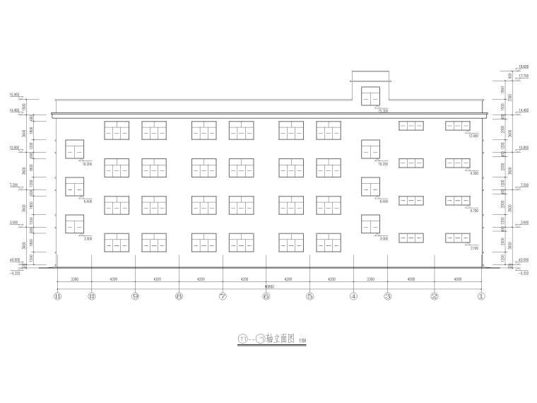 [湖北]四庄四层框架结构小学综合楼建施图纸-立面图2