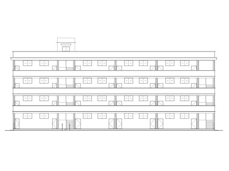[湖北]四庄四层框架结构小学综合楼建施图纸-立面图1