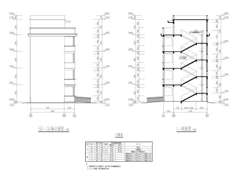 [湖北]四庄四层框架结构小学综合楼建施图纸-立面图、剖面图
