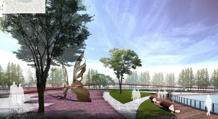"""[昆明]当地文化滨河带状公园景观设计方案-""""春树暮羽""""滨水观景"""