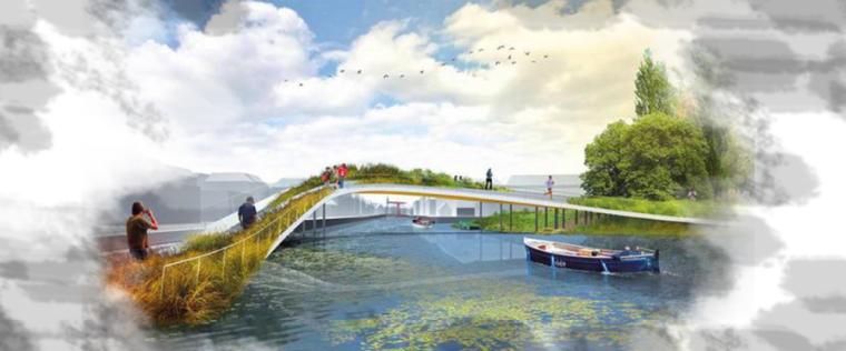 """[昆明]当地文化滨河带状公园景观设计方案-""""霓影水映""""景观桥"""