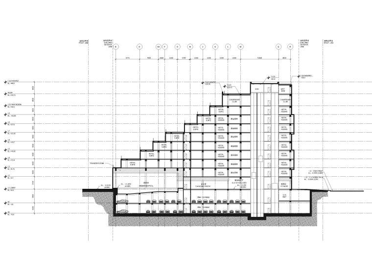 [江苏]苏州五星酒店客房方案+建筑图+效果图-酒店剖面图