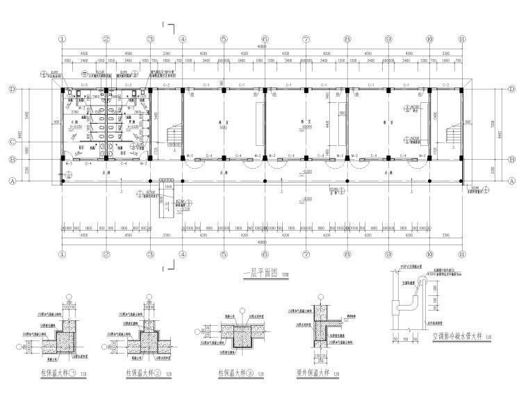 [湖北]四庄四层框架结构小学综合楼建施图纸-一层平面图