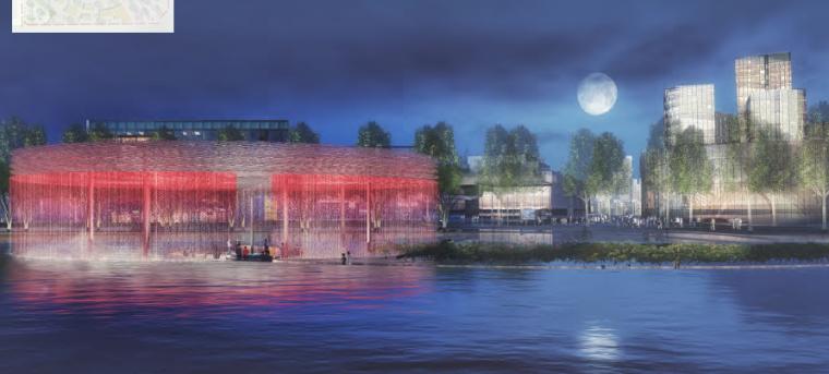 """[昆明]当地文化滨河带状公园景观设计方案-""""雀翎梦舞""""水上舞台"""