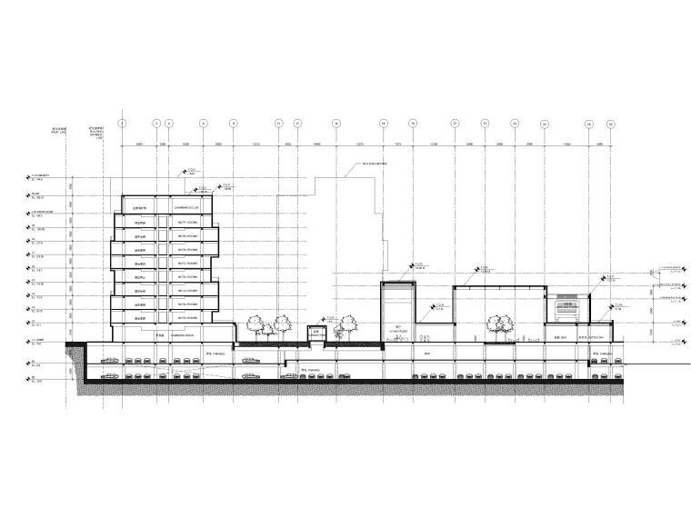 [江苏]苏州五星酒店客房方案+建筑图+效果图-酒店剖面图2