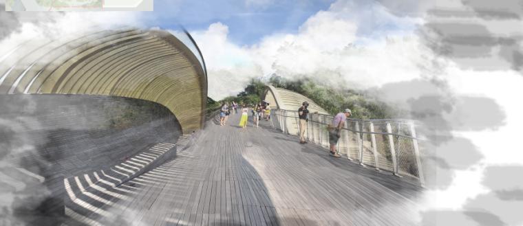 [昆明]当地文化滨河带状公园景观设计方案-波浪桥效果图